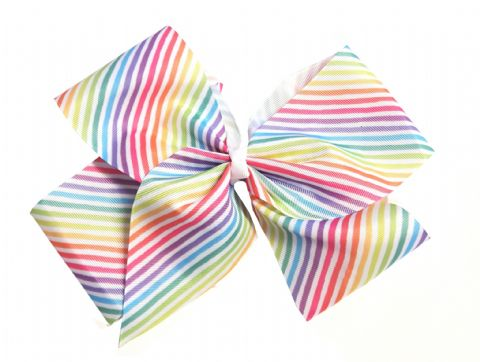 Extra Large Rainbow Stripe Hair Bow Boutique Girls Alligator Clip Grosgrain Ribbon Headband - 23cm